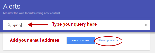 Setting up your Google Alert search query