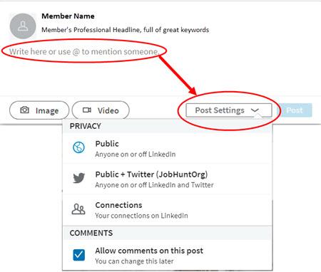 LinkedIn Home page Post Settings