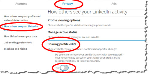Stop LinkedIn from sharing your Profile edits when you make a change to your Profile