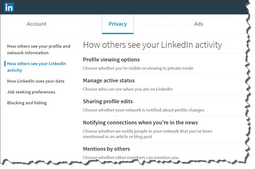 Your visible LinkedIn activities and Profile sections