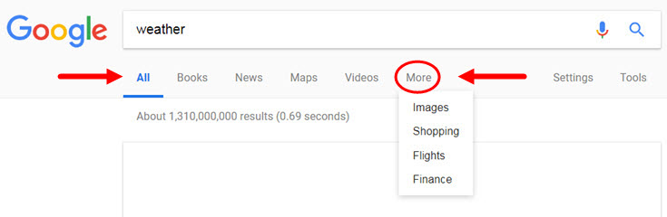Google search - more options