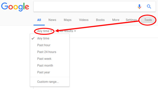 Google search by timeframe