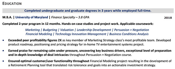 Resume GPA, Coursework, and Project - 1st example