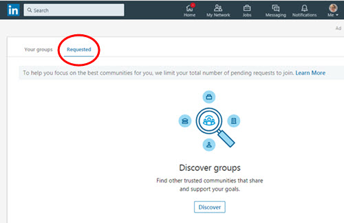 Finding LinkedIn Requested Groups
