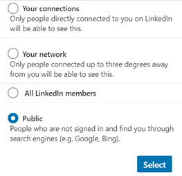 Making your LinkedIn profile public