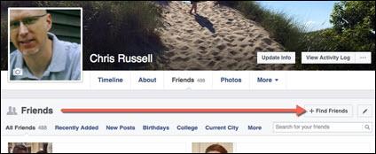 Facebook Find Friends button